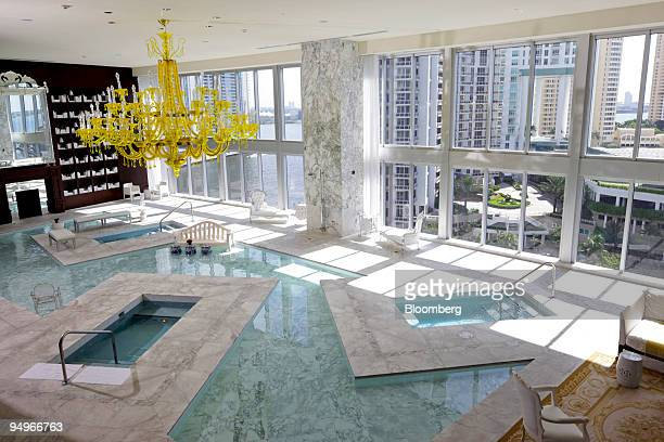 An interior swimming pool at the Brickell Icon condo development in Miami Florida US is shown on Wednesday Aug 12 2009 The developer of the Brickell...