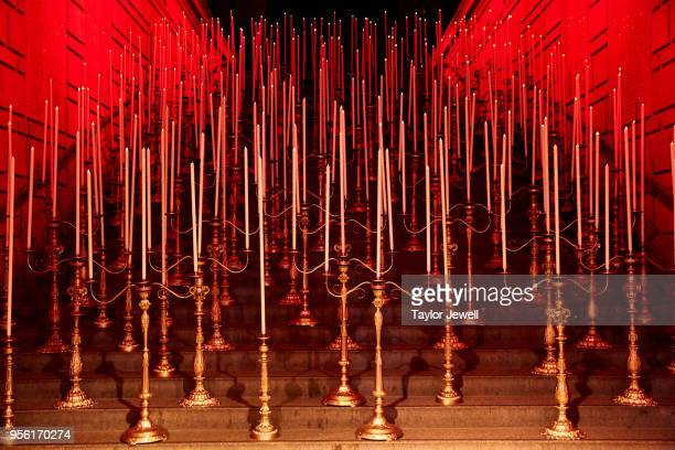 An interior view during Heavenly Bodies Fashion The Catholic Imagination Costume Institute Gala at The Metropolitan Museum of Art on May 7 2018 in...