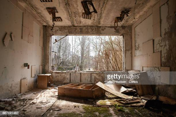An interior view in abandoned building of culture Energetic in the Pripyat near the Chernobyl nuclear power plant in the Exclusion Zone Ukraine April...