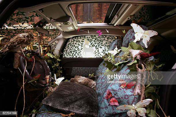 An interior view is seen of the new Peugeot 1007 designed by Sadie Frost and Jemima French as part of London Fashion Week Autumn/Winter 2005/6 at St...