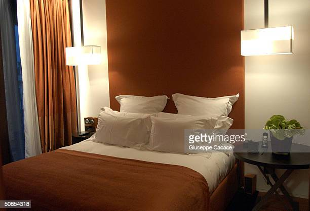 An interior view of a bed area of a room at the new Bvlgari Hotel is seen on May 18 2004 in Milan Italy Bvlgari Hotels and Resorts in joint venture...