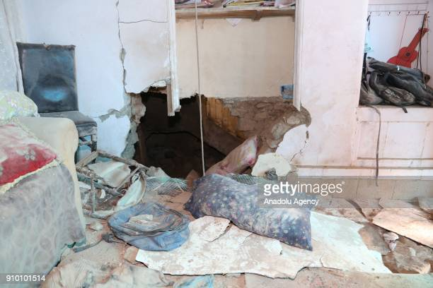 An interior view of a damaged house is seen after a rocket fired by PYD/PKK terrorists from Syria's Afrin hit a house belonging to a Syrian family in...