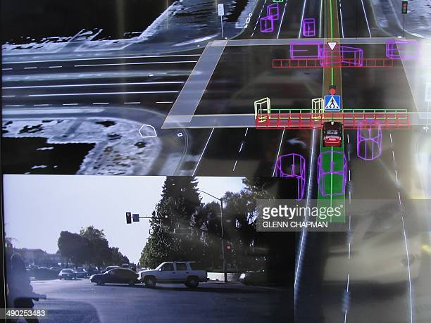 An interior view of a Google selfdriving car is seen in Mountain View California on May 13 2014 A white Lexus cruised along a road near the Google...