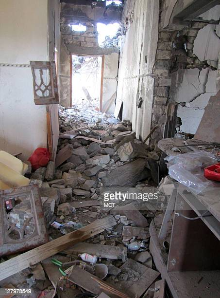 An interior view of a home that was flattened by a NATO airstrike on Aug 8 NATO contends it was a military target but locals claim it was a residence...