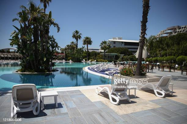 An interior view of a hotel is seen after the circular letter issued by the Ministry of Culture and Tourism of Turkey stating new hygiene and social...