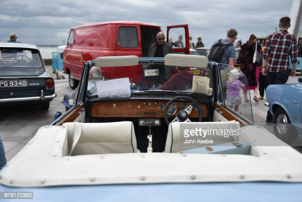 An interior view of a Triumph herald Vitesse on display during the Southend Classic Car Show along the seafront on June 17 2018 in Southend on Sea...