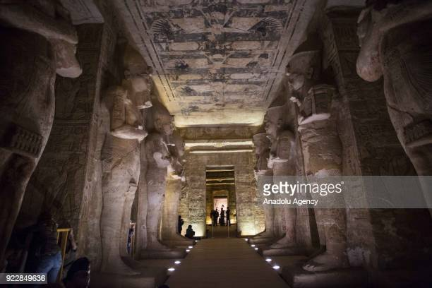 An interior view of Abu Simbel temples as visitors arrive to monitor the sunbeams on the statues of King Ramesses in Aswan Egypt on February 22 2017...