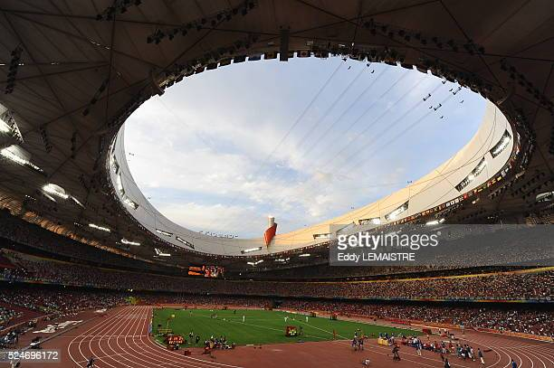 An interior view of Bird's Nest National Stadium at the 2008 Olympic Summer Games, Beijing, China.