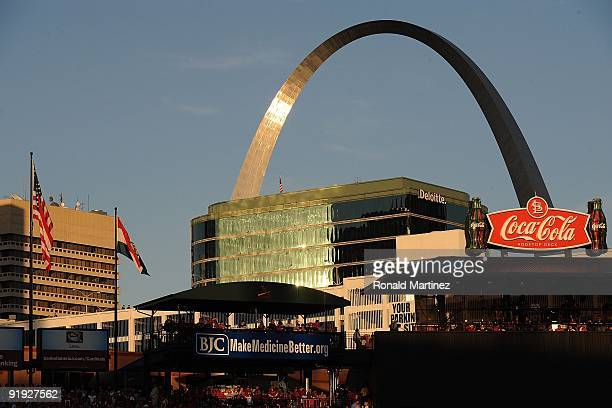 An interior view of Busch Stadium and the St Louis Gateway Arch during Game Three of the NLDS during the 2009 MLB Playoffs between the St Louis...