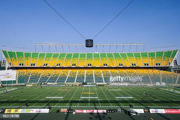 An interior view of Commonwealth Stadium prior to a CFL game between the Ottawa Redblacks and the Edmonton Eskimos on July 11 2014 in Edmonton...