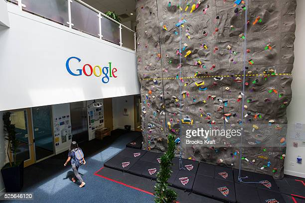 An interior view of office space with an indoor climbing wall at the Googleplex the corporate headquarters complex of Google Inc located in Mountain...