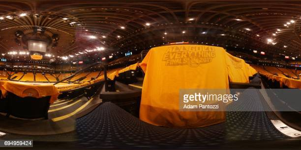 An interior view of ORACLE Arena with the tshirts giveaways for fans before Game 1 of the NBA Finals in Oakland California on May 31 2017 NOTE TO...