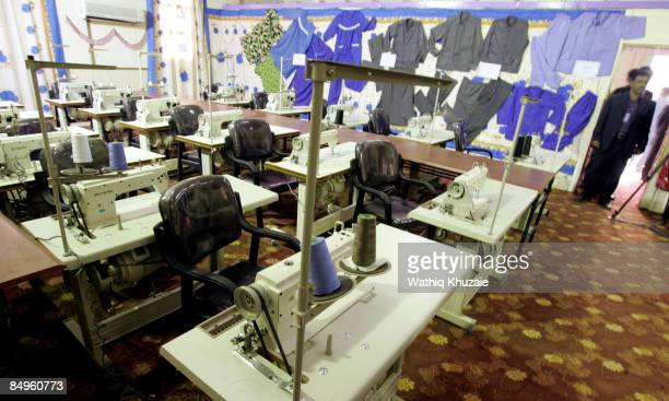 An interior view of sewing machines at the newly opened Baghdad Central Prison in Abu Ghraib on February 21 2009 in Baghdad Iraq The Iraqi Ministry...