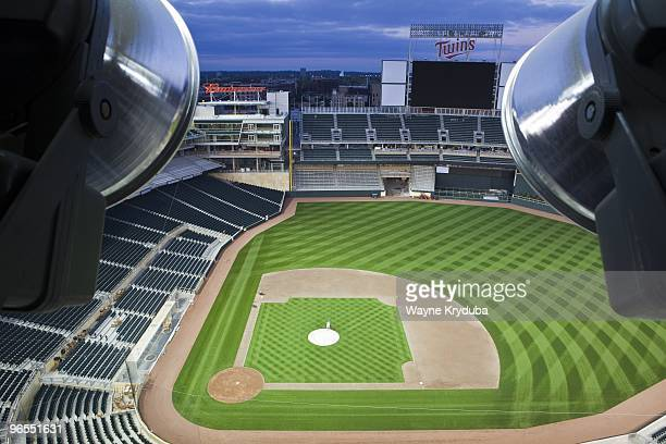 An interior view of Target Field at night looking out from the canopy showing the field and scoreboard on October 8 2009 at Target Field The opening...