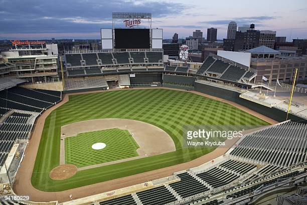 An interior view of Target Field looking out from the Terrace level showing the field and scoreboard on October 8 2009 at Target Field The opening...