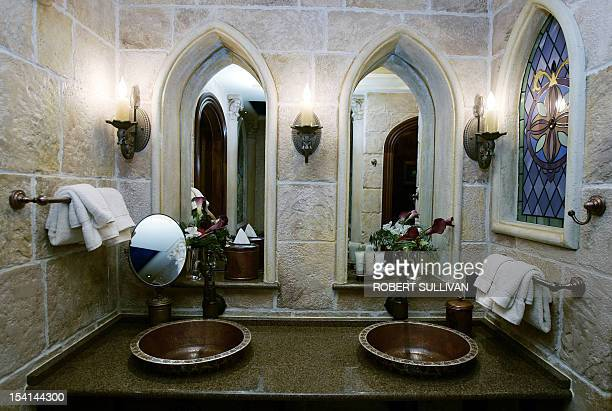 An interior view of the bathroom in the royal suite inside Cinderella's Castle at Walt Disney World 25 January 2007 in Lake Buena Vista Florida Each...