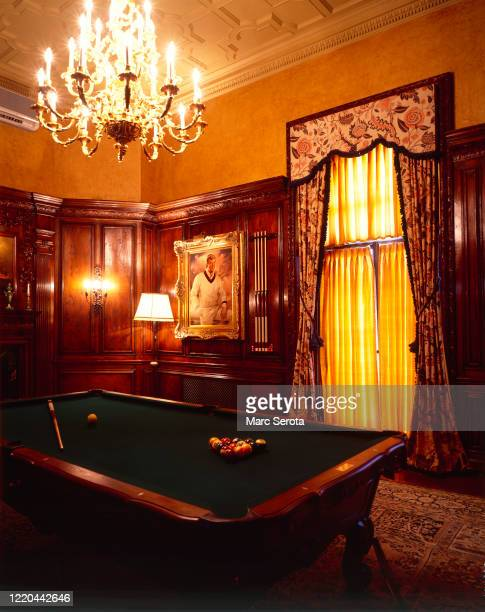 An interior view of the billiard room at 'Mar a Lago' owned by businessman Donald Trump circa 2000 in Palm Beach, Florida.