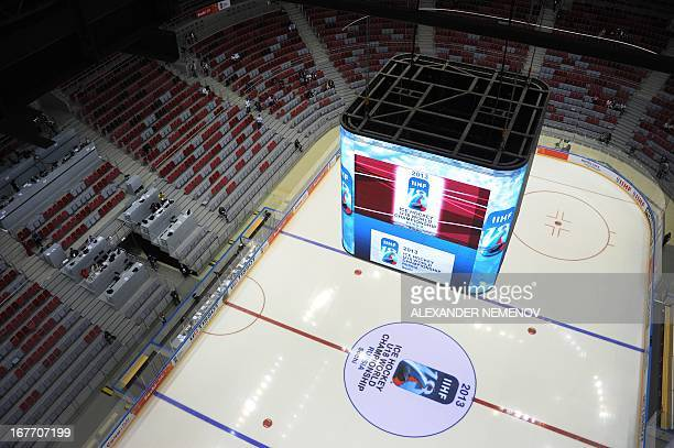 An interior view of the Bolshoi Ice Dome arena ice hockey venue at the Olympic Park in Adler outside Sochi during the IIHF U18 International Ice...