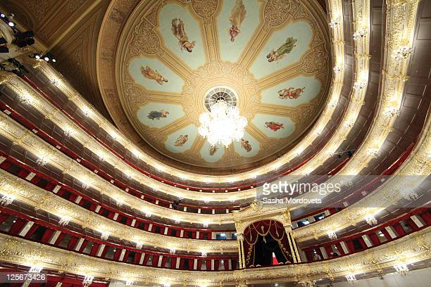 An interior view of the Bolshoi Theater September 20 2011 in Moscow Russia The Bolshoi closed in 2005 for a complete renovation that ran overtime and...