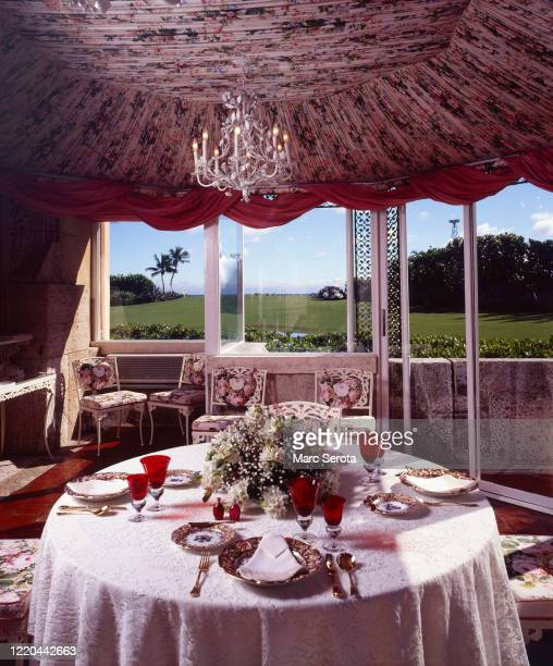 An interior view of the breakfast area at 'Mar a Lago' owned by businessman Donald Trump circa 2000 in Palm Beach, Florida.