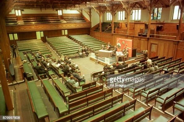 An interior view of the Church of Scotland General Assembly hall ...