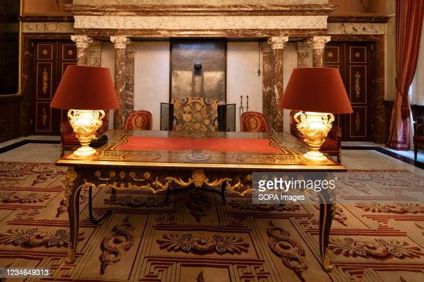 An interior view of the City Council Chamber at the Royal Palace of Amsterdam which is at the disposal of the monarch of the Netherlands. With its...