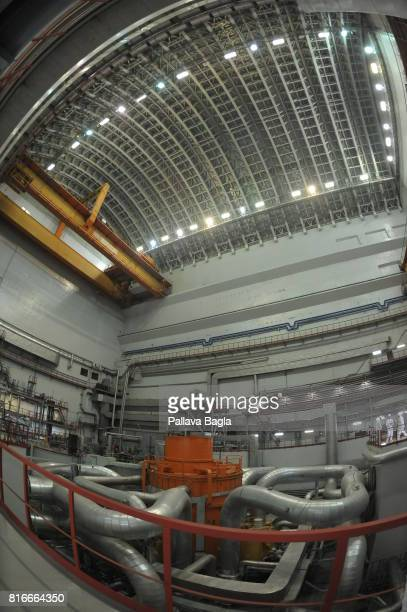 An interior view of the core of the Russian Fast Breeder Reactor on June 27 2017 in Zarechny Svedlovsk Oblast Russia Journalists were allowed inside...