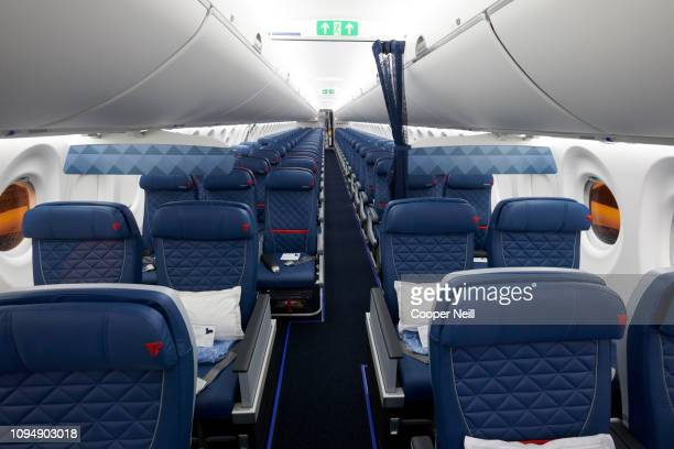 An interior view of the Delta A220 during the Delta A220 First Flight event at DFW Airport on February 7 2019 in Dallas Texas