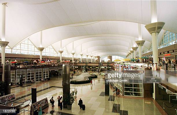 An interior view of the Denver International Airport is visible June 17 2001 in Denver CO