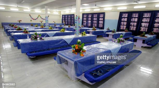 An interior view of the dining facility at the newly opened Baghdad Central Prison in Abu Ghraib on February 21 2009 in Baghdad Iraq The Iraqi...