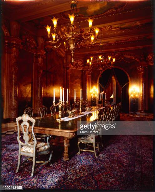 An interior view of the dinning room at 'Mar a Lago' owned by businessman Donald Trump circa 2000 in Palm Beach, Florida.
