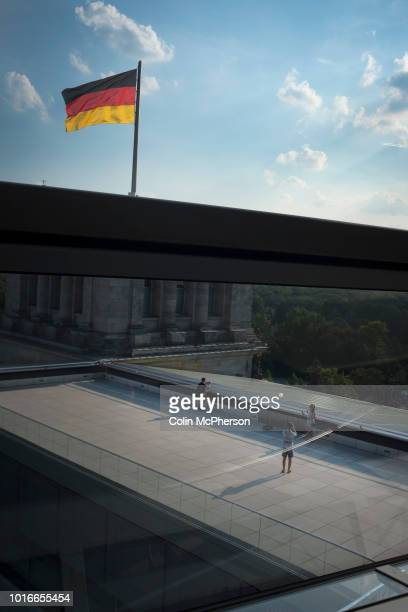 An interior view of the dome in the Reichstag building in Berlin. The historical seat of Germany's parliament since the time of the Holy Roman...