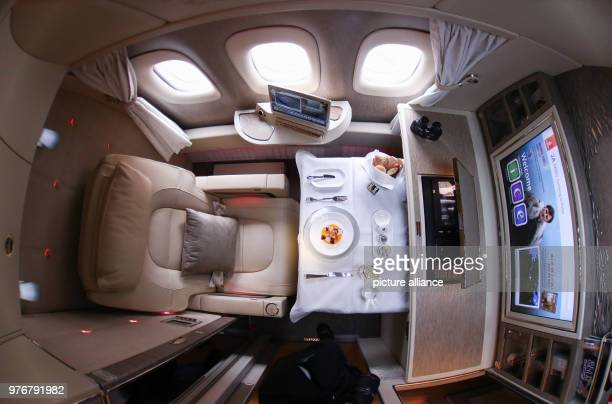 An interior view of the First Class Suite inside an Emirates' Boeing 777 during it's presentation at Hamburg's airport in Hamburg Germany 11 April...