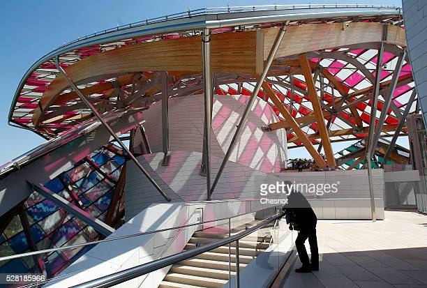 An interior view of the Foundation Louis Vuitton covered by an temporary art work entitled 'Observatory of Light Work in Situ' by French artist...