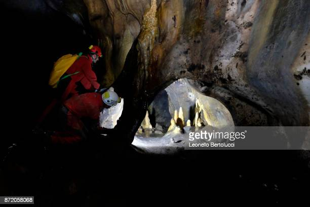 """An interior view of the """"Grotta dei Cervi"""" on July 31 2017 in Salento Italy Initially named the Cave of Aeneas in reference to the Trojan Aeneas who..."""