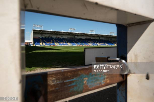 An interior view of the Halliwell Jones Stadium, the home ground of the rugby league side Warrington Wolves, in Warrington, northern England on May...