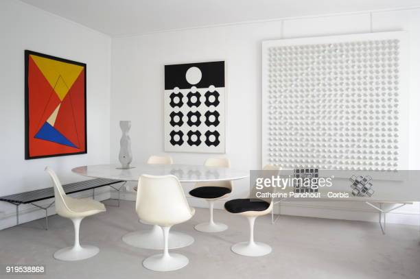 An interior view of the home of Denise René , French art gallerist specializing in kinetic art and op art on April 2, 2003 in Paris, France.