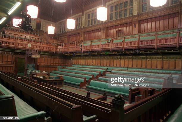 An interior view of the House of Commons showing the opposition benches