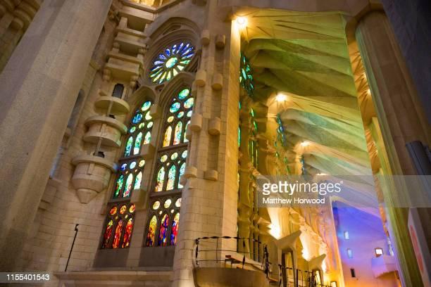 An interior view of the La Sagrada Familia Roman Catholic church on February 6, 2019 in Barcelona, Spain. Construction of the Roman Catholic Church,...