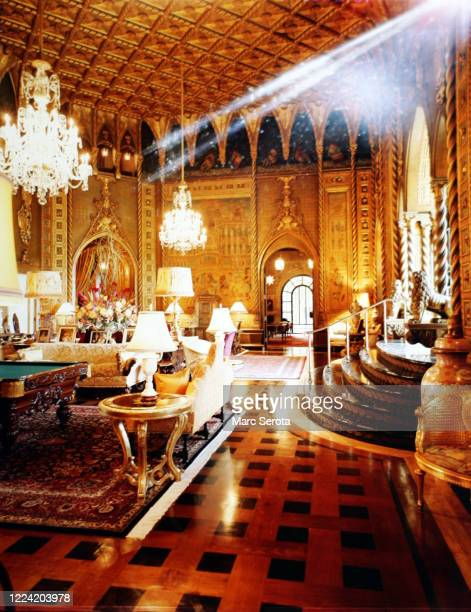 An interior view of the living room at 'Mar a Lago' owned by businessman Donald Trump circa 2000 in Palm Beach, Florida.