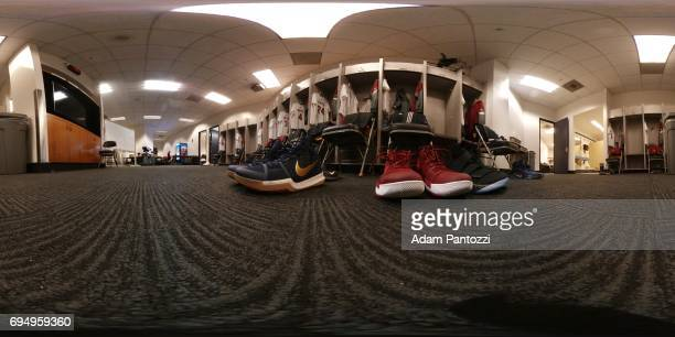 An interior view of the locker room of the Cleveland Cavaliers uniforms hanging at ORACLE Arena before Game 1 of the NBA Finals in Oakland California...