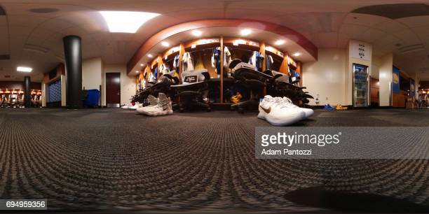 An interior view of the locker room of the Golden State Warriors uniforms hanging at ORACLE Arena before Game 1 of the NBA Finals in Oakland...