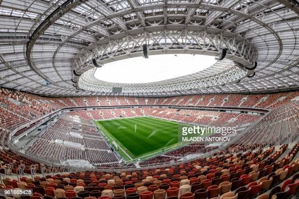An interior view of the Luzhniki Stadium in Moscow on May 23 2018 The 80000seater stadium will host seven World Cup matches including the opening...