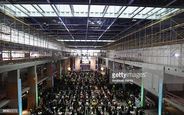 An interior view of the main terminal hall is pictured during the roofing ceremony at the new Airport Berlin Brandenburg International BBI on May 7,...