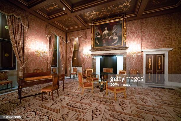 An interior view of the music room at the Royal Palace of Amsterdam which is at the disposal of the monarch of the Netherlands. With its classicist...