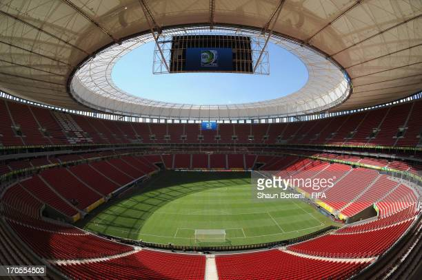 An interior view of the National Stadium on June 13, 2013 in Brasilia, Brazil.