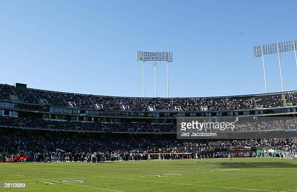 An interior view of the Network Associates Coliseum is shown during a game with the Oakland Raiders and the Baltimore Ravens on December 14 2003 at...
