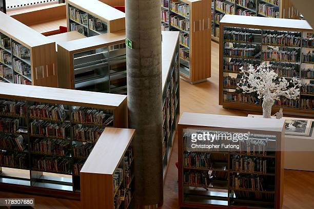 An interior view of the new Library of Birmingham at Centenary Square on August 27 2013 in Birmingham England The new futuristic building designed by...