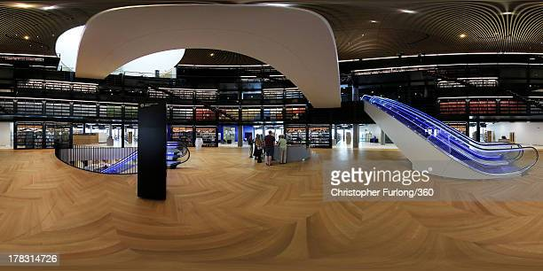 An interior view of the new Library of Birmingham at Centenary Square on August 27, 2013 in Birmingham, England. The new futuristic building designed...