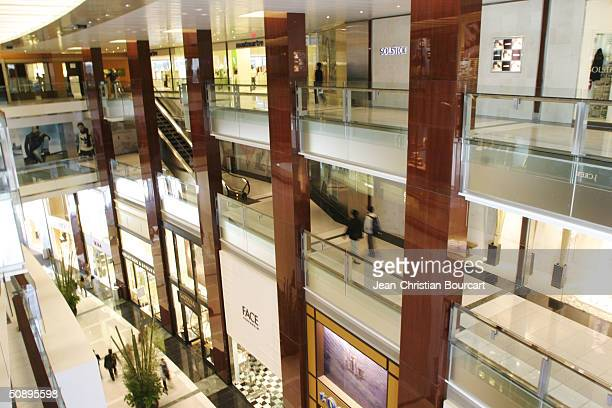 An interior view of the new Time Warner Building is seen in Columbus Circle April 29 2004 in the Manhattan borough of New York City The building...
